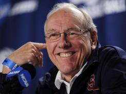 Syracuse coach Jim Boeheim at a press conference during practice.