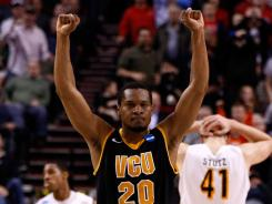 VCU's Bradford Burgess celebrates the Rams' victory in the NCAA second round over Wichita State.