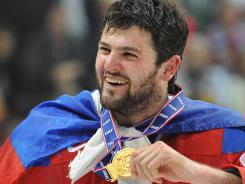 Alexander Radulov celebrates his world championship gold medal in 2009. He scored the winning goal.