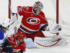Carolina goalie Cam Ward got his 200th win in a 2-0 victory over the Blues at Raleigh, N.C., on Thursday night.