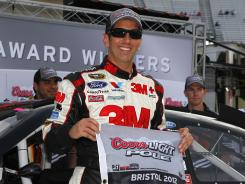 Greg Biffle, posing as the Coors Light pole winner at Bristol, has finished third in every race this year and has not qualified below night.