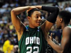 Bobcats guard Stevie Taylor reacts to a late game basket by Ohio against Michigan during Friday's game.