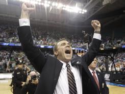 Lehigh coach Brett Reed revels in the Mountain Hawks' upset win over Duke.