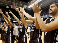 Lehigh's players applaud their supporters after the win Friday against Duke, while a good portion of the nation applauded them for a memorable upset.