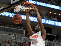 Freshman center Rakeem Christmas, starting in place of the suspended Fab Melo, had eight points and 11 rebounds.