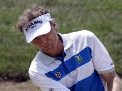Bernhard Langer, seen here in July, birdied the final hole for a 6-under 65 and a share of the first-round lead at the Toshiba Classic.