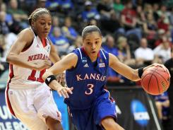 Kansas guard Angel Goodrich, right, driving past Nebraska guard Tear'a Laudermill, recorded 20 points, five rebounds and five assists to lead the Jayhawks to the upset.