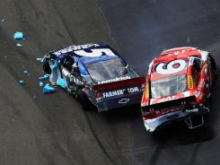 Kasey Kahne's No. 5 Chevrolet is in shambles after his car wrecked early in Sunday's race at Bristol Motor Speedway. Kahne is 34th in points through four races.