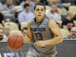 Kansas State's Angel Rodriguez dribbling against Southern Mississippi in the NCAA tournament last week.