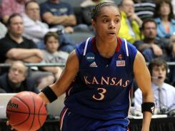 Kansas guard Angel Goodrich scored 27 points to lead 11th-seeded Kansas past third-seeded Delaware 70-64.