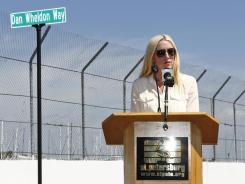 Dan Wheldon Way — at Turn 10 of the St. Petersburg, Fla., street course — was dedicated in early March. Susie Wheldon, widow of the IndyCar driver who was killed at Las Vegas Motor Speedway on Oct. 16, spoke at the ceremony.