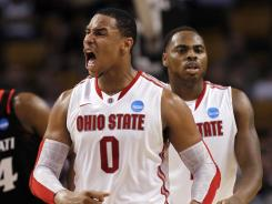 Jared Sullinger reacts in the second half of Ohio State's victory against Cincinnati, which put the Buckeyes into the regional final against top seed Syracuse.