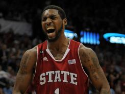 Wolfpack forward Richard Howell reacts after scoring against North Carolina in the ACC tournament.