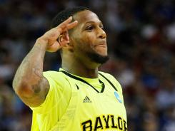Pierre Jackson Baylor celebrates the Bears' spot in the NCAA Elite Eight.