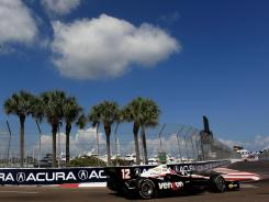 Will Power of Australia during practice for the IZOD IndyCar Series Honda Grand Prix of St Petersburg on March 23, 2012 in St Petersburg, Florida. Power's lap of 1:02.0077 seconds nearly matched his pole speed last year.