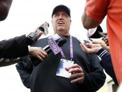 Jets HC Rex Ryan answers questions at LSU pro day March 22.
