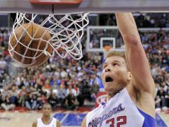 Clippers forward Blake Griffin throws down a dunk Saturday night.