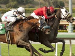 Dynamic Host and David Flores, right, edge out Dhaamer and Rafael Bejarano to win the Grade III $100,000 Tokyo City Cup at Santa Anita Park, Arcadia, Calif.