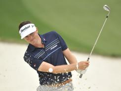 Keegan Bradley his from a bunker on No. 10 during a practice round. Bradley is 1-for-1 in majors (he's the 2011 PGA champion), and this week he plays the Masters for the first time.