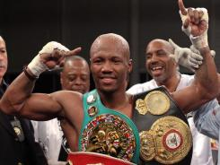Zab Judah celebrates his 9th round TKO of Vernon Paris at the Aviator.
