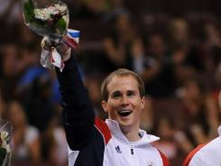 In this file photo from 2008, Paul Hamm celebrates being named to the Olympic team.