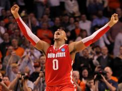 Ohio State's Jared Sullinger celebrates beating Syracuse and earning a trip to the 2012 Final Four.
