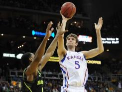 Since early February, Kansas center Jeff Withey is shooting 57% from the field and averaging 4.5 blocks.
