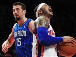 New York's Carmelo Anthony, right, paced the Knicks with 25 points in their 108-86 rout of the Magic on Wednesday night at Madison Square Garden in New York.