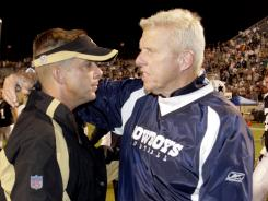 New Orleans Saints head coach Sean Payton, left, congratulates former Dallas Cowboys head coach BIll Parcells after the Cowboys beat the Saints 30-7 in 2006.