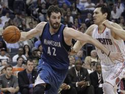 With 469 points and 211 rebounds this month, Timberwolves forward Kevin Love is just 31 points and eight rebounds from surpassing Shaquille O'Neal for the most in those categories in a single month in the NBA in the last 15 years