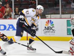 Alexander Radulov is fitting in well for the Predators, GM David Poile says.