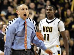 Virginia Commonwealth coach Shaka Smart barks instructions during a game this season.