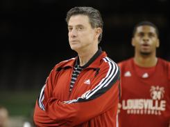 Louisville head coach Rick Pitino looks on during practice Friday.