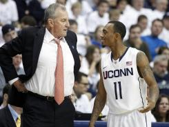 Connecticut coach Jim Calhoun won't be coaching in the Big East tournament next year if the Huskies are hit with a NCAA ban.