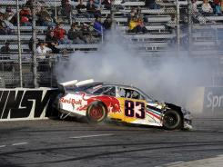 Brian Vickers' last race at Martinsville Speedway, on Oct. 30, ended with multiple crashes and controversy. Vickers was driving the No. 83 Toyota for now-defunct Red Bull Racing. He'll drive the No. 55 Toyota for Michael Waltrip Racing this weekend at the 0.526-mile oval.