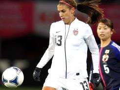 Alex Morgan of the United States in action during the international friendly match between Japan and United States at Yurtex Stadium Sendai on Sunday in Sendai, Japan.The team tied 1-1.
