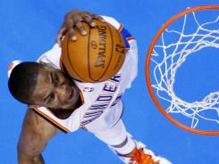 Russell Westbrook put on a show Sunday as his Oklahoma City Thunder downed the Chicago Bulls in a preview, perhaps, of the NBA Finals.