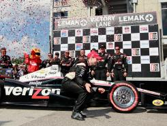 Will Power of Team Penske celebrates after his win Sunday in Birmingham, Ala.