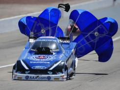Robert Hight is shooting for this third consecutive win in the Funny Car division. He qualified No. at The Strip at Las Vegas Motor Speedway on Saturday.
