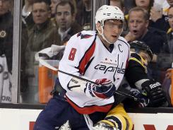 Alex Ovechkin, shoving the Bruins' Shawn Thornton into the benchlast week, is minus 8 on the season for the Captials.