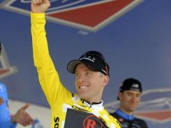 This Aug. 28, 2011 file photo shows American cyclist Levi Leipheimer celebrating after winning the USA Pro Cycling Challenge, in Denver. Leipheimer felt &quot;lucky to be alive&quot; after he was hit by a car while training for a race.