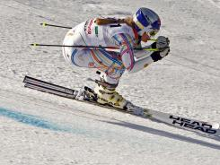 Lindsey Vonn races during the women's giant slalom at the FIS World Cup in Schladming, Austria on March 18. She finished the season with the most points ever by a female skier.