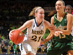 Natalie Novosel, shown in a February win against South Florida, will be a key for Notre Dame in attacking the inside presence of Baylor's 6-8 Brittney Griner.