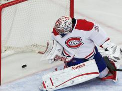 Canadiens goalie Carey Price watches a shot by Rangers defenseman Michael Del Zotto get past him for a goal Friday.