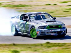 Vaughn Gittin Jr. tests his new 2013 Ford Mustang for the Formula Drift season.