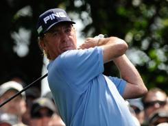 Miguel Angel Jimenez delivers a first-round 69 on Thursday at the Masters.