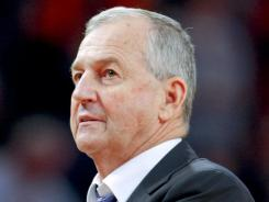Connecticut Huskies head coach Jim Calhoun during the first half against the Syracuse Orange in the third round of the 2012 Big East Tournament at Madison Square Garden. Calhoun's Huskies had their appeal for a waiver of the academic requirements that would allow UConn to play in next season's postseason tournament denied today by the NCAA.