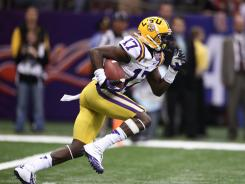 LSU Tigers cornerback Morris Claiborne returns a kick in the BCS National Championship game on Jan. 9.