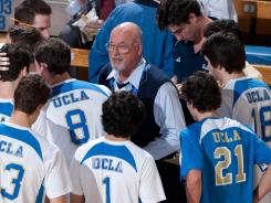 Coach Al Scates speaks to the UCLA men's volleyball team Jan. 19, 2011 at Pauley Pavilion in Los Angeles.