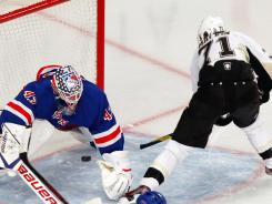 New York Rangers goalie Martin Biron is starting Thursday because Henrik Lundqvist has a sore arm.
